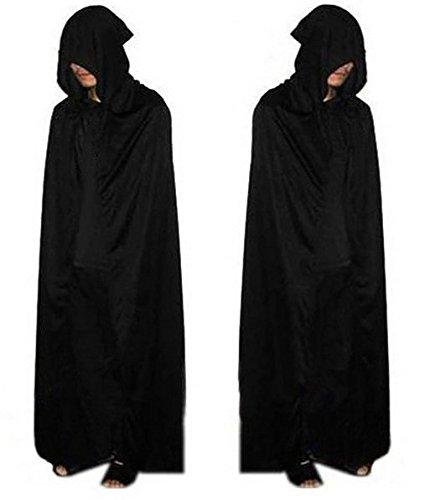 W65 ハロウィン コスプレ 死神 マント フード ローブ 黒 大人 男性用 マント大悪魔ケープ マント マントかぶりタイプ
