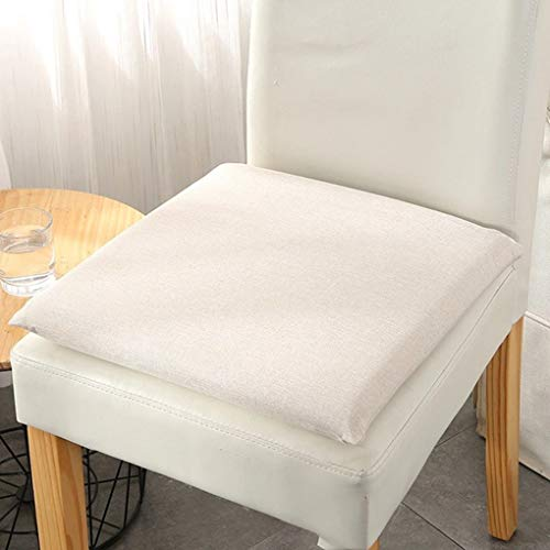 No/Brand Memory Foam Seat Cushion, Machine Washable Square Desk Chair Cushion, White Seat Cushion for Office Chair Dining Room Chairs 15x15 inches