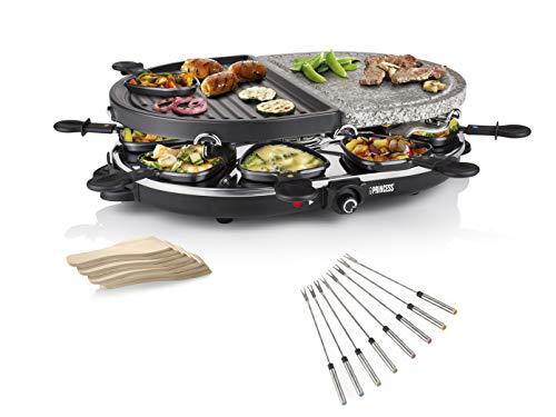 Raclette Steengrillplaat & grillplaat - met tapijtvorken & pannetjes voor 8 personen, regelbare thermostaat, 1200 Watt