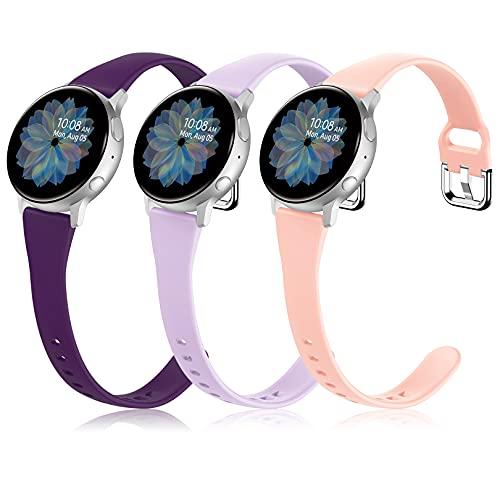 Pulseras Correa de montre en Silicona 20 mm compatibles con Samsung Galaxy Watch Active 2 40 mm / 42 mm / 41 mm / Gear S2 Classic Sport / Garmin Vivoactive 3 (3 Piezas)