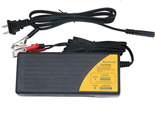 HoneyCare 48V Sealed Lead Acid Battery Charger,48V SLA AGM Gel VRLA Battery Charger with Fuel Gauge?MCU Control,with Recovery Function Charger for Scooter(48V 1.5A Lead Acid Charger)