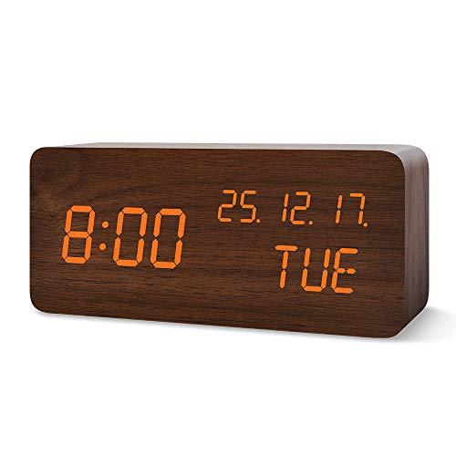 FiBiSonic LED Wecker digitaler Wecker Tischuhr mit Sprachsteuerung Datum für Zuhause, Schlafzimmer, Kinderzimmer und Büro Braun