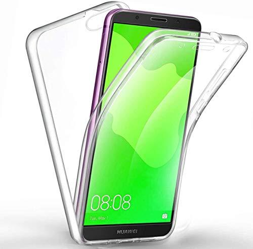 COPHONE® Coque Transparente 360 Compatible Huawei Y5 2018. Protection intégrale Avant Souple + arrière Rigide. Housse Tactile 360 degres Anti Choc.