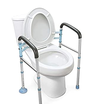 OasisSpace Stand Alone Toilet Safety Rail - Heavy Duty Medical Toilet Safety Frame for Elderly Handicap and Disabled - Adjustable Bathroom Toilet Handrails Width Adjustable Design Fit Any Toilet