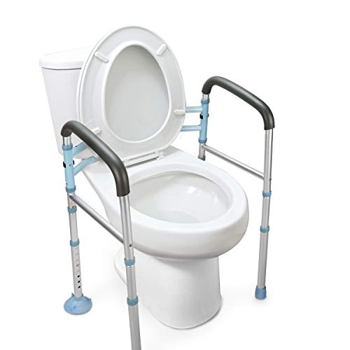 OasisSpace Stand Alone Toilet Safety Rail - Heavy Duty Medical Toilet Safety Frame for Elderly, Handicap and Disabled - Adjustable Bathroom Toilet Handrails, Width Adjustable Design, Fit Any Toilet