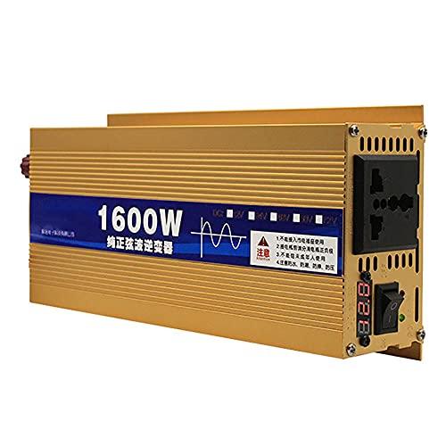 SATSAT Inversor De Onda Sinusoidal Pura, DC 12 V / 24 V / 48V / 60V / 72V A AC 220V Convertidor De Voltaje, Transformador De Voltaje Pico 1600W Inversor De EnergíA Solar Coche Hogar Al Aire Libre,12V