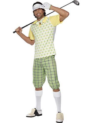 costumebakery - Herren Männer Dandy Schönling Golfer Schnösel Kostüm mit Schirmmütze, Shorts, Oberteil, Fliege und Handschuhen, perfekt für Karneval, Fasching und Fastnacht, L, Grün