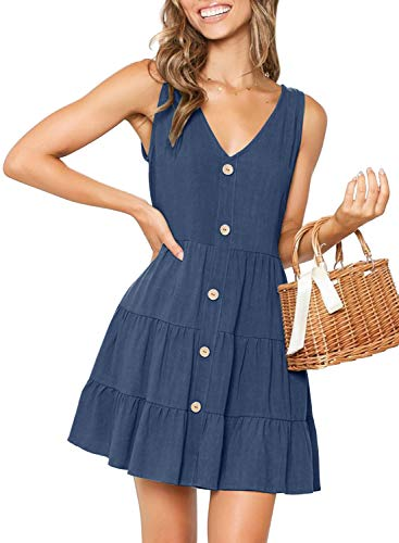MITILLY Women's Summer Sleeveless V Neck Button Down Casual Pocket Swing Short Dress Large Dark Blue