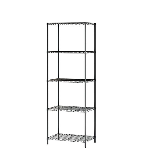 5 Wire Shelving Metal Rack Adjustable Unit Storage Shelves for Laundry Bathroom Kitchen Pantry Closet Silver
