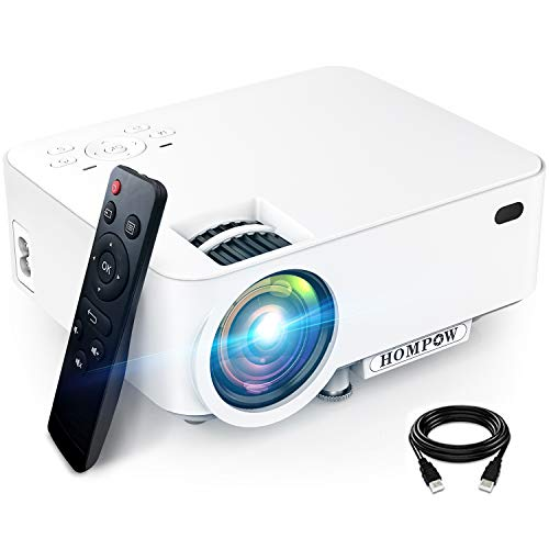 "Mini Projector, Hompow High Brightness Movie Projector, Smartphone Portable Video Projector 1080P Supported and 176"" Display, Compatible with TV Stick/HDMI/VGA/USB/TV Box/Laptop/DVD/PS4 for Home"