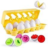 Cretee 12 Eier Formensortierspielzeug von Formenspiel für Kinder Farbe und Formen Sortierspielzeug