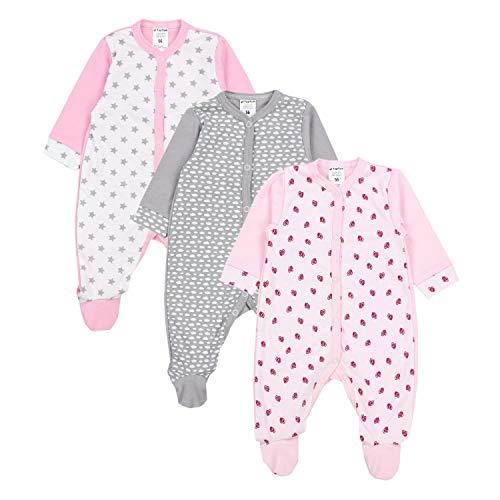 TupTam Baby Mädchen Schlafstrampler mit Fuß 3er Pack, Farbe: Farbenmix 5, Größe: 92
