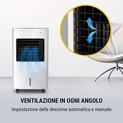 Oneconcept Freeze Me - Raffrescatore Evaporativo, Ventilatore, Umidificatore, 3in1, 75 W, Flusso d'Aria: 400 m³/h, 3 Modalità, Serbatoio: 8 Litri, NatureWind Function, Bianco