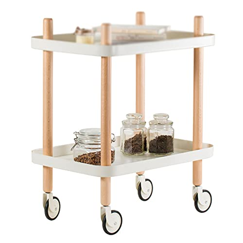 Table family Mobilseitentisch, 2-streifter Rechteckiger Aufbewahrungstabelle Mit Rädern Wohnzimmer Buchraum Balkon Snack Rack(Size:50 * 64 * 36CM,Color:D.)