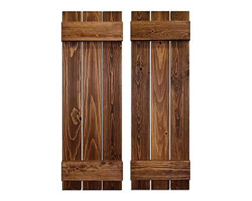 Board & Batten Shutters, Wood Shutters Wall Decor, Interior Window Shutters, Rustic Decor - Pair of Shutters - 20 Colors and 4 Sizes - Shown in Special Walnut