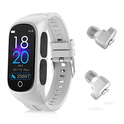W@nyou Fitness Tracker Smart-Watch Earbuds - 2 in 1 Activity Bracelet Wireless Bluetooth Headphones Receive Calls Messages Music Control Sleep Tracker Pedometer Calorie Counter for Women Men