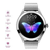 RanGuo - Reloj Inteligente para Mujeres, Deportes al Aire Libre Impermeable Smart Watch para Sistema Android y iOS, Apoyo recordatorio de Llamada y recordatorio de Mensaje (Correa de Acero, Plata)