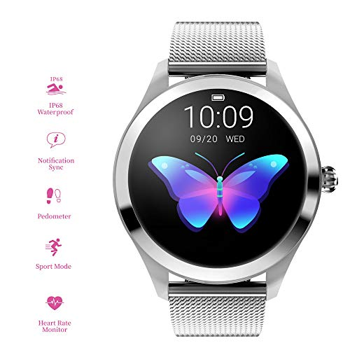 RanGuo, Smart Watch da donna, Bluetooth Smart Watch IP68, impermeabile, braccialetto intelligente per smartphone con sistema Android e iOS, supporta promemoria di chiamata e messaggi.