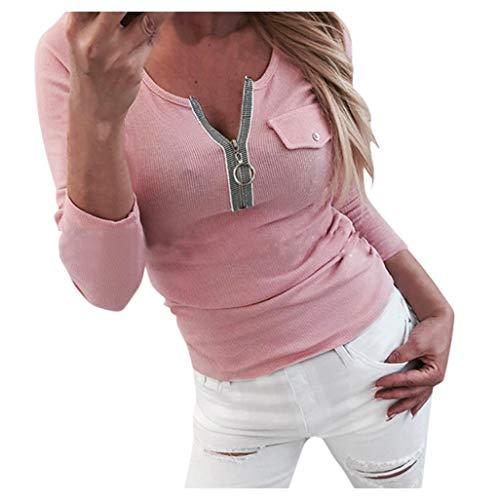 Oksea Damen Langarmshirt mit Reißverschluss Bodycon Sexy Oberteil Damen Herbst Langarmshirts Damen Elegante Bluse 3/4 Arm Tunika Winter T Shirt V Ausschnitt Tops