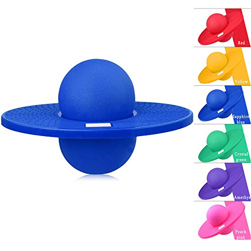 BISOZER Pogo Ball, Hop n' Hop Pogo Hopper, Pogo Ball Fun Hopper Sports High Balance Bounce Jump Board Ball Platform Fitness Ball for Aerobic Balance and Coordination Exercises (Blue)