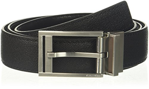 Calvin Klein Men's 32mm Reversible Pressed Edge Stitch Strap, black, 38