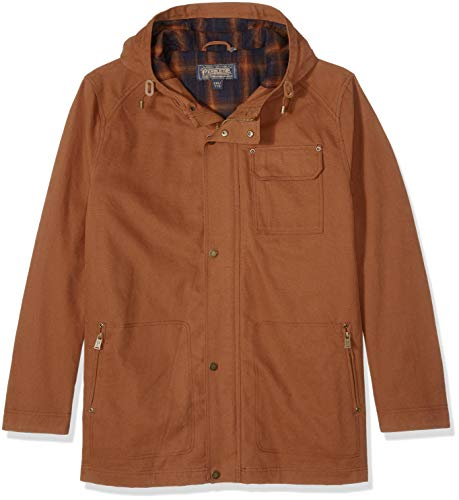 Pendleton Outerwear Cascade Big Sky Kapuzenjacke mit DWR Finish, Herren, Cascade Big Sky Canvas W/DWR Finish Hooded Jacket, Whiskey, Large