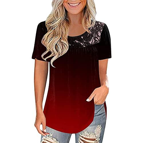 UEsent Camiseta de verano para mujer, de manga corta, informal, cuello redondo, con degradado, para adolescentes, niñas, holgada, grande Vino XL