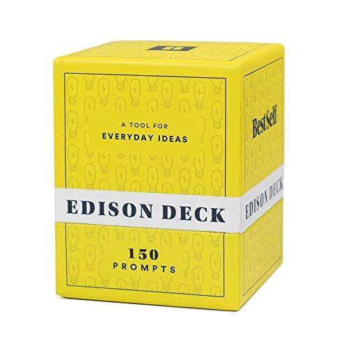 Idea Generation Edison Deck da BestSelf — Brainstorming, pensamento provocando e escrevendo instruções perfeitas para desbloquear ideias frescas, disruptivas e criativas — 150 cartas para escrever e pensar