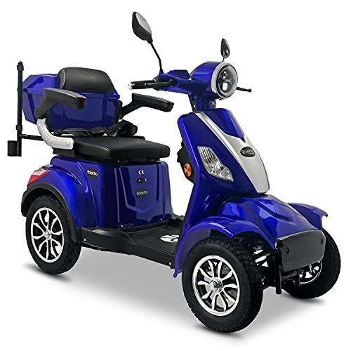 Rolektro E-Quad 25 V.3 Pro Blau mit Lithium Akku - Elektromobil 4-Rad - 80km Reichweite - 1000W Seniorenfahrzeug mit Zulassung