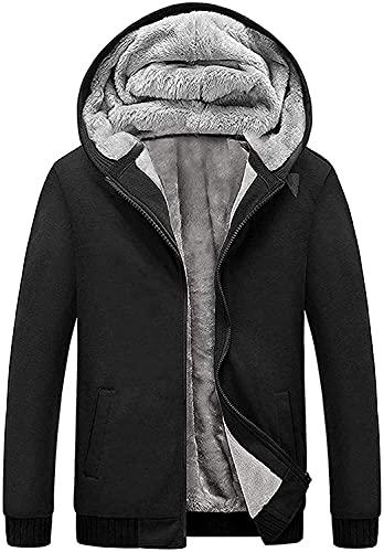 SCODI Hoodies for Men Heavyweight Fleece Sweatshirt - Full Zip Up Thick Sherpa Lined 0010-Black-3XL
