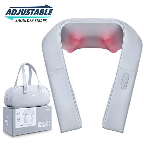Nacken Schulter Massagegerät mit verstellbarer Armschlaufe und Wärmefunktion - Naipo oCuddle™ Elektrische Nackenmassagegerät Shiatsu 3D-Rotation Massage für Haus Büro Auto