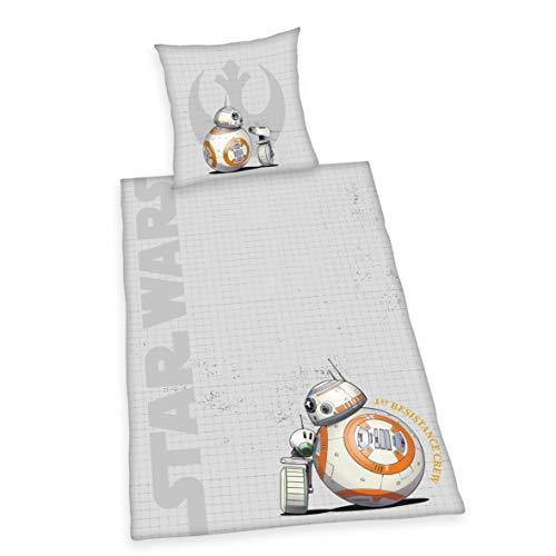 Herding Star Wars 9 Bettwäsche-Set, Wendemotiv, Mit praktischer Knopfleiste, Flanell/Biber, grau, Bettbezug 135 x 200 cm, Kopfkissenbezug 80 x 80 cm