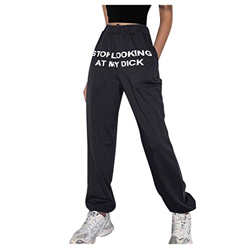 Evangelia.YM Women's Casual Sports Sweat Pants Trousers Stop Looking at My Dick Funny Lettering Printing High Waist Leggings Black