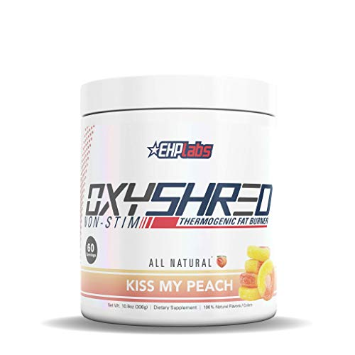 EHP Labs OxyShred |Non Stim| Thermogenic Fat Burner Boost Metabolism, Destroy Stubborn Fat Cells (60 Servings) (Peach)