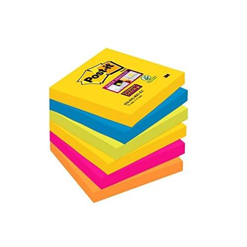 Post-it Super Sticky Foglietti, 90 Fogli, Confezione da 6 Blocchetti, 76 x 76 mm, Multicolore (Rio de Janeiro)