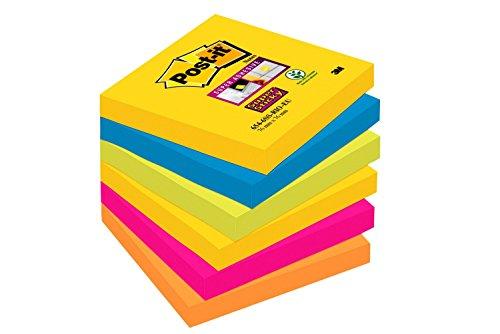 Post-it Super Sticky - Pack de 6 blocs notas de 90 hojas, Rio de Janeiro (Amarillo Neón/Azul Mediterráneo/Verde Neón/Rosa Fucsia/Naranja Neón)