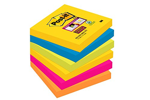 Post-it Super Sticky - Pack de 6 blocs notas de 90 hojas,