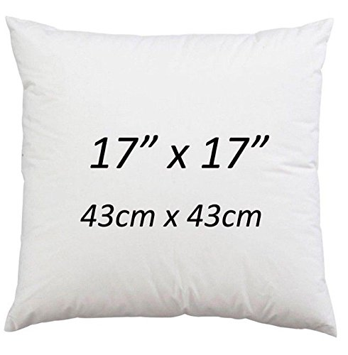 BEDWAY Pack of 2-17' x 17' Cushion Inners/Anti Allergy Hollowfibre Cushion Filler Pads (43cm x 43cm)