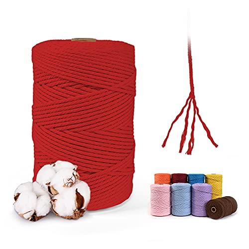 MAXEE Hilo de macramé rojo, 3 mm x 200 m, 100% algodón, cuerda de algodón natural, cuerda de...