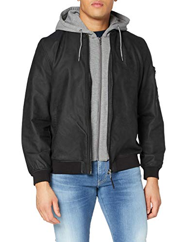 Springfield 488232 Faux Leather Jacket, Negro, L Mens