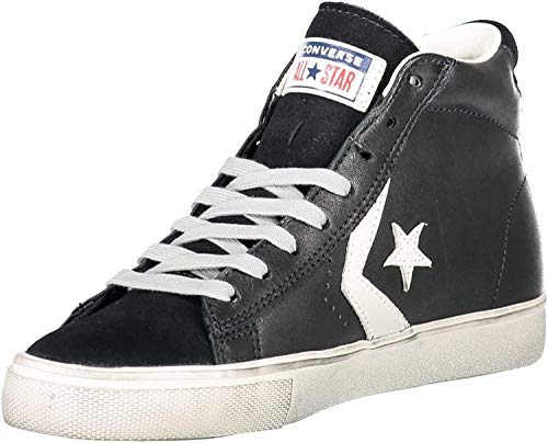 Converse Unisex Lifestyle Pro Leather Vulc Distressed Mid Sneakers, Mehrfarbig (Black/Turtledove/Light Gray 001), 38.5 EU