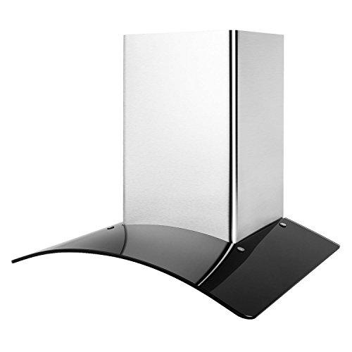 Klarstein GL60WSB - Campana extractora, Extractor de humos, Extractor de pared, Aspiración/Ventilación, 3 Niveles, 350 m³/h, Acero inoxidable, Montaje en pared, Ancho: 60 cm, Cristal negro