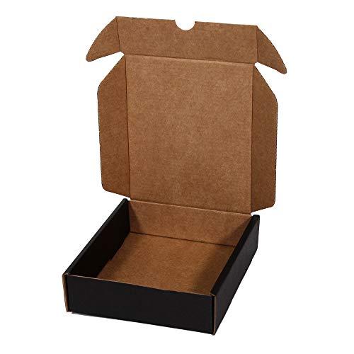 Kartox | Caja De Cartón Negra para Envío Postal | Caja Automontable ideal para Regalo | Caja de Cartón Resistente | Talla S | 13x15.5x4 CM | 20 Unidades