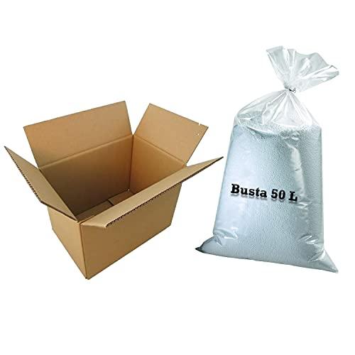 Ecopuf Ricarica Polistirolo EPS per Riempimento Pouf Poltrone Sacco Busta da 50 Litri 1 Kg