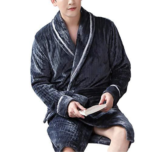 HINGT Albornoz Kimono Suelto Informal para Hombre, Bata de Franela de otoño e Invierno, Pijama, Ropa para el hogar, Gruesa y cálida para Hombre