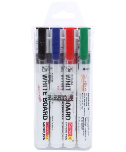 Camlin Kokuyo PB White Board Marker - Pack of 4 Assorted Colors (Black, Blue, Red, Green)