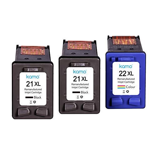 Kamo 21XL 22XL Cartucho Multipack Compatible con HP 21 22 XL Cartuchos de tinta; DeskJet 3940 D1530 D1560 D2360 D2460 F2180 F2290 F335 F380 F390 F4180; Officejet 4315 4355; PSC 1410 (2 Negro, 1 Color)