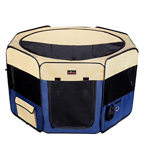 Aivituvin Dog Playpen 45' Portable Puppy Pen Compatible Small & Medium Kitten,Rabbit,Cat Play Pen Indoor/Outdoor Use (L, Blue)