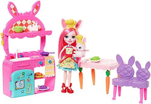 Enchantimals Bunny en cocina divertida, muñeca con mascota