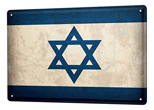 LEotiE SINCE 2004 Blechschild Dekoschild Küche Garage Welt Reise Israel Flagge Wand Deko Schild 20X30 cm